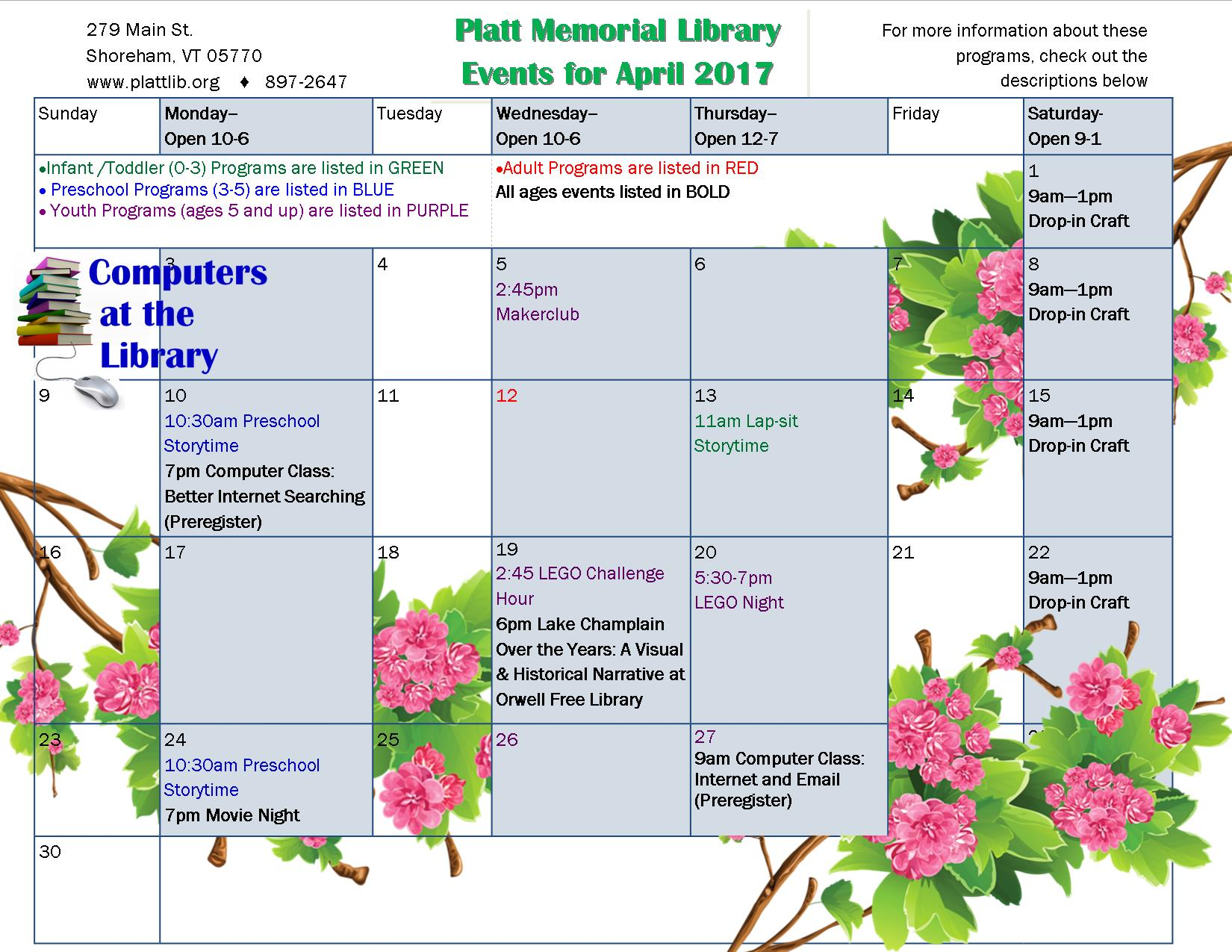 Calendar of events for April. See listing below for details.