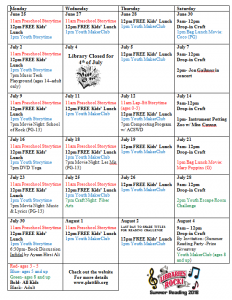 Summer Reading Calendar of events for July and August- details below.