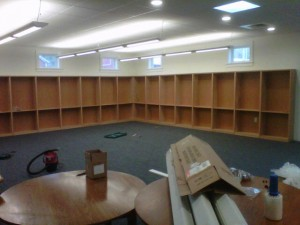 Interior of the library- shelving in place