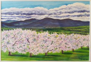 Painting by local artist Deborah Holmes depicting blossoming apple trees with the green mountains behind; the view from Douglas Orchards