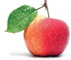 Apple with stem and leaf