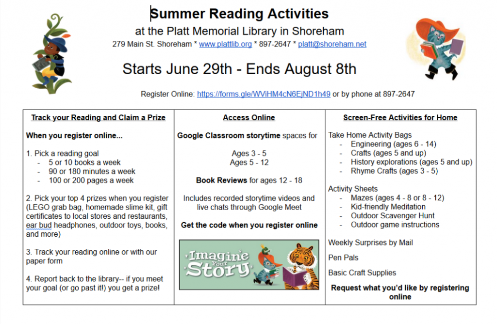 Description of the activities for summer reading. Program starts June 29th. Registration and further information available: https://forms.gle/euLETFnAGd7rLPqR6